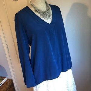 Amanda Uprichard v neck silk blouse blue